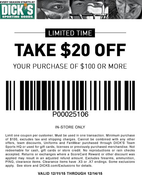 Dick's Sporting Goods takes $20 off qualifying orders $+ with Coupon Code: AFLSEP34 (Exp 9/24). Free Shipping on qualifying orders $99+. Numerous exclusions apply. /5(3).