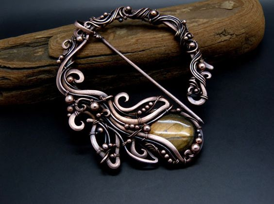 Embrace of the Sun - Penannular Brooch, Shawl Pin  from Sky and Beyond  by DaWanda.com