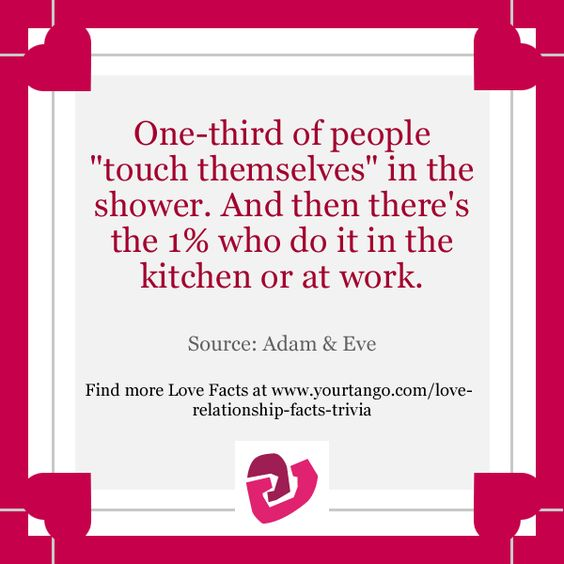 "One-third of people ""touch themselves"" in the shower. And then there's the 1% who do it in the kitchen or at work."