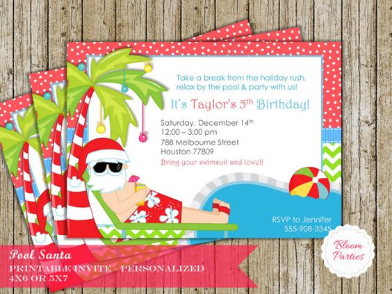 Christmas pool party invitation winter pool party swimming for Christmas in july party ideas