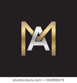 Am Ma Initial Company Square M Shape Silver Gold Logo Black