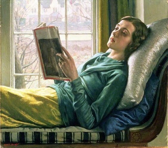 chica leyendo, óleo sobre lienzo de Harold Knight (1874-1961, United Kingdom)