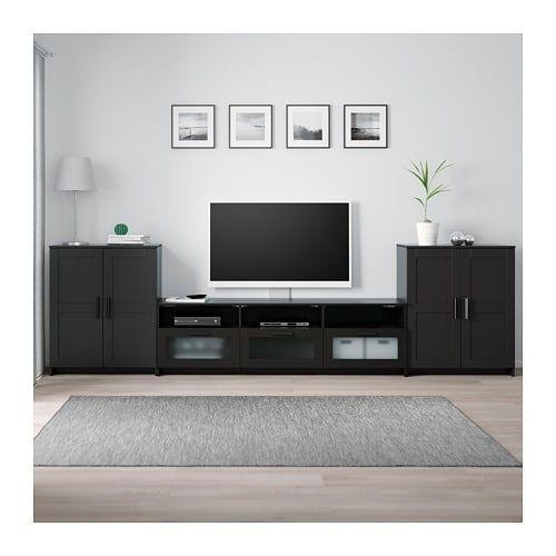Brimnes Tv Storage Combination Black Black 132 1 4x16 1 8x37 3 8 Tv Storage Combination Black Glass Cabinet Doors