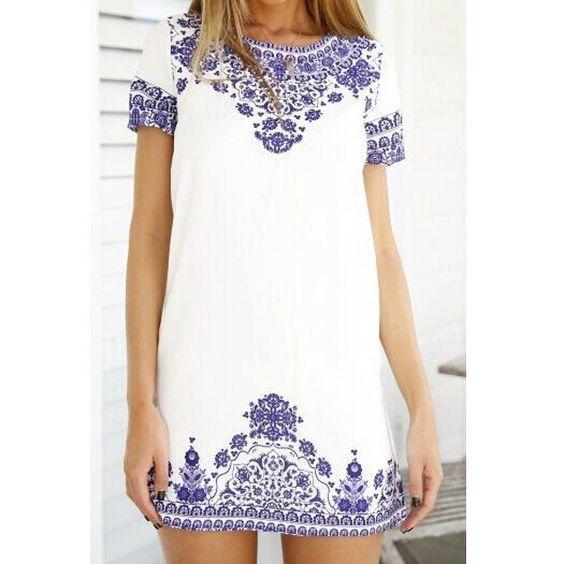 Stylish Round Neck Short Sleeve Printed Women's Dress ($15) via Polyvore