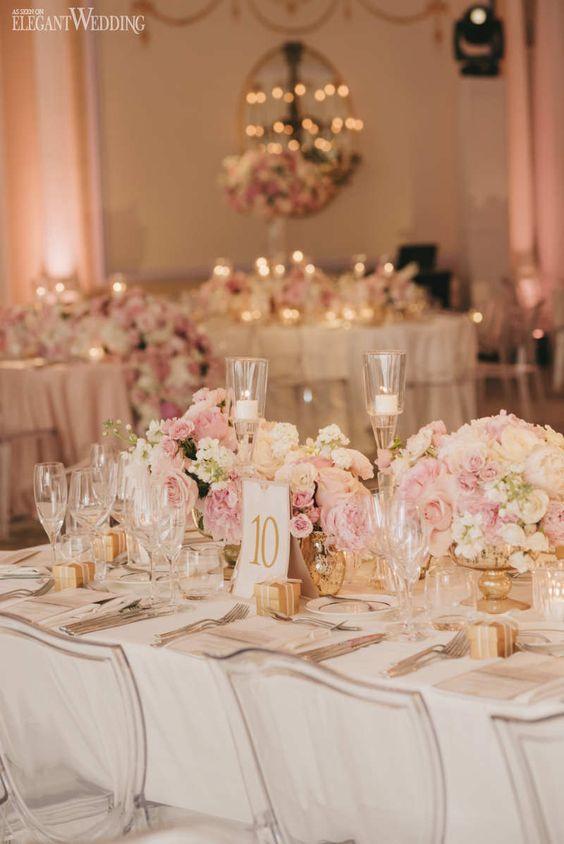 Blush and Gold Wedding Table Setting, Blush Wedding Centrepieces, Pink Wedding Table Setting | Stunning Blush Pink Wedding at the Ritz | ElegantWedding.ca