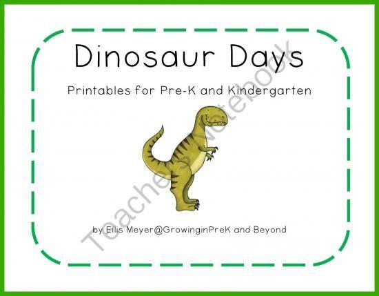 dinosaur days printables for pre k and kindergarten from growing in pre k on teachersnotebook. Black Bedroom Furniture Sets. Home Design Ideas