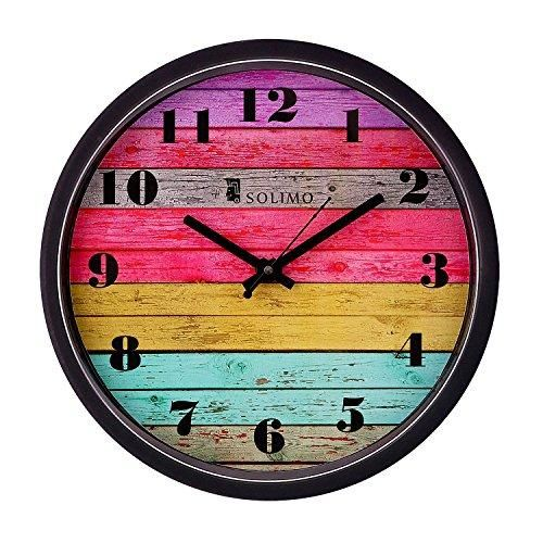 Amazon Brand Solimo 12 Inch Wall Clock Coloured Stripes Step Movement Black Frame Wall Clock Clock Pendulum Clock