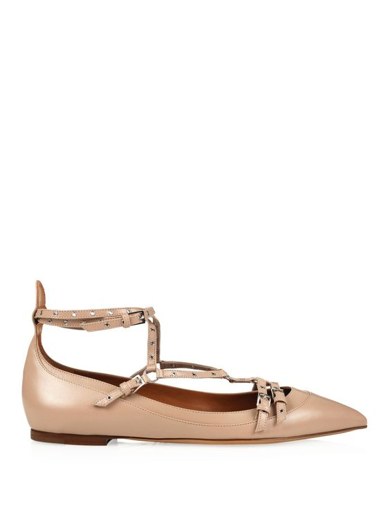 Love Latch point-toe leather flats | Valentino