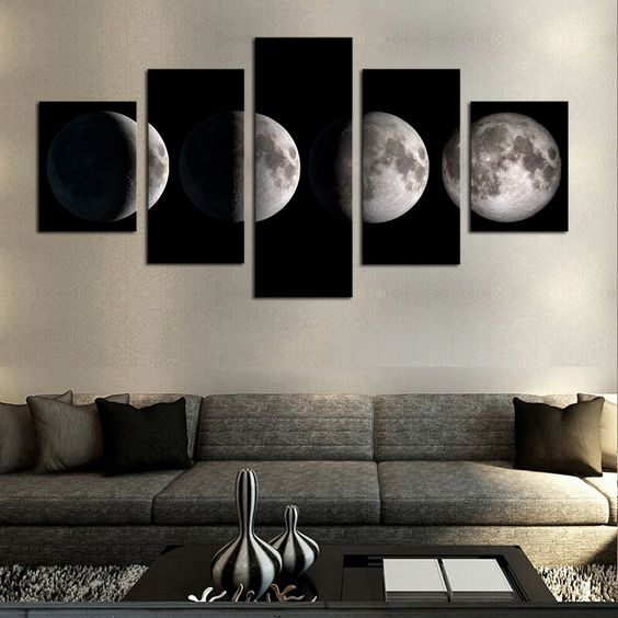 5 Piece(No Frame)Moon Modern Home Wall Decor Canvas Picture Art HD