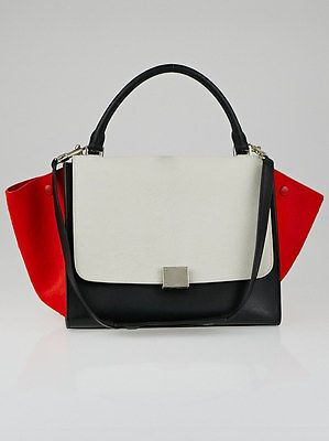 Celine White/Red/Black Tricolor Pony Hair Small Trapeze Bag | Pony ...