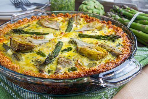 Asparagus, Baby Artichoke, Pesto and Goat Cheese Quiche with Quinoa Crust Recipe Breakfast and Brunch, Main Dishes with quinoa, water, eggs, parmigiano reggiano cheese, artichokes, asparagus, eggs, milk, pesto, goat cheese