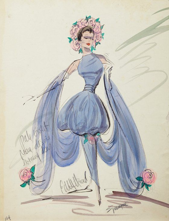 Edith Head (2) vintage original costume sketches. : Lot 500