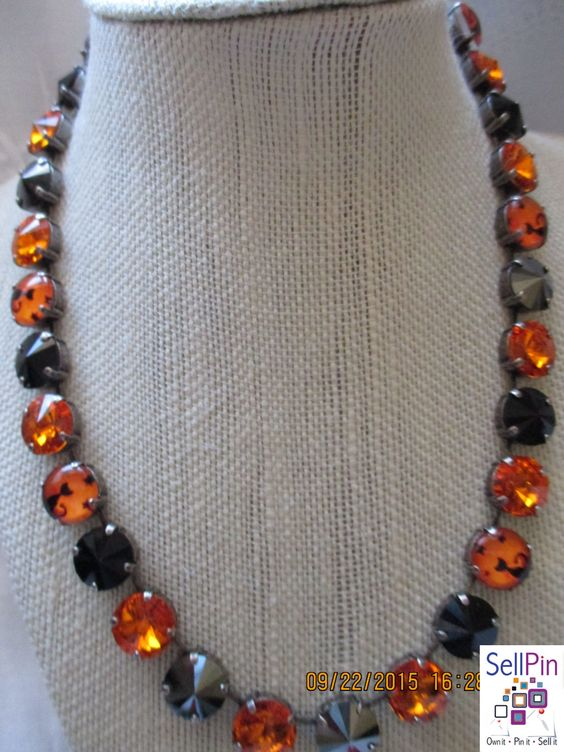 """$75.00: Black Cat """"Halloween"""" 12MM Swarovski Necklace set in a Antique Silver Setting, it is 16 in. long with"""