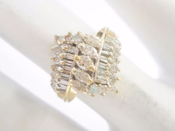 14k Yellow Gold .50 Carat TCW Marquise Diamond Accent Cluster Ring Sz 5 #2715 #Cluster