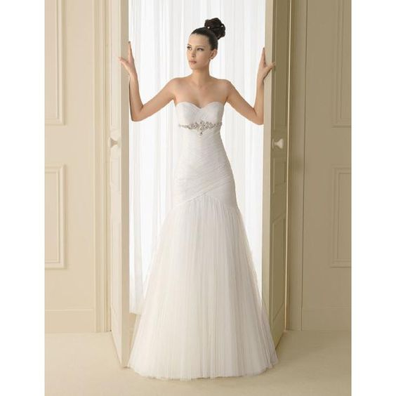 2015 A-line Organza corset Sweetheart Neckline with beading Bridal gown (TWD2015-002) Wedding Dresses Auckland