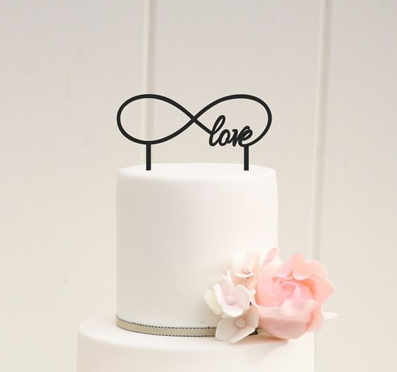 Infinity Symbol Love Wedding Cake Topper  by ThePinkOwlDesigns