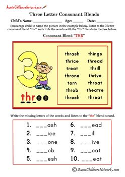 Printables 3 Letter Blends Worksheets 3 letter consonant blends thr homeschooling pinterest thr