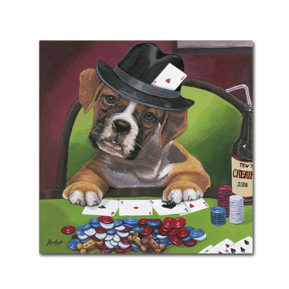 Jenny Newland 'Poker Dogs 2' Canvas Art