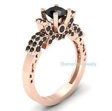 2.31 Ct Black Round Cut Engagement Wedding 925 Silver Ring 10K Rose Gold Plated