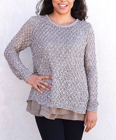 Another great find on #zulily! Taupe Open-Back Layered Sweater - Women #zulilyfinds