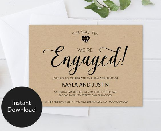 Rustic Engagement Invitation Template Rustic Engagement