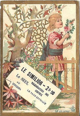 Edwardian Girl with Flower Bouquet & Envelope Antique French Chromo Trade Card