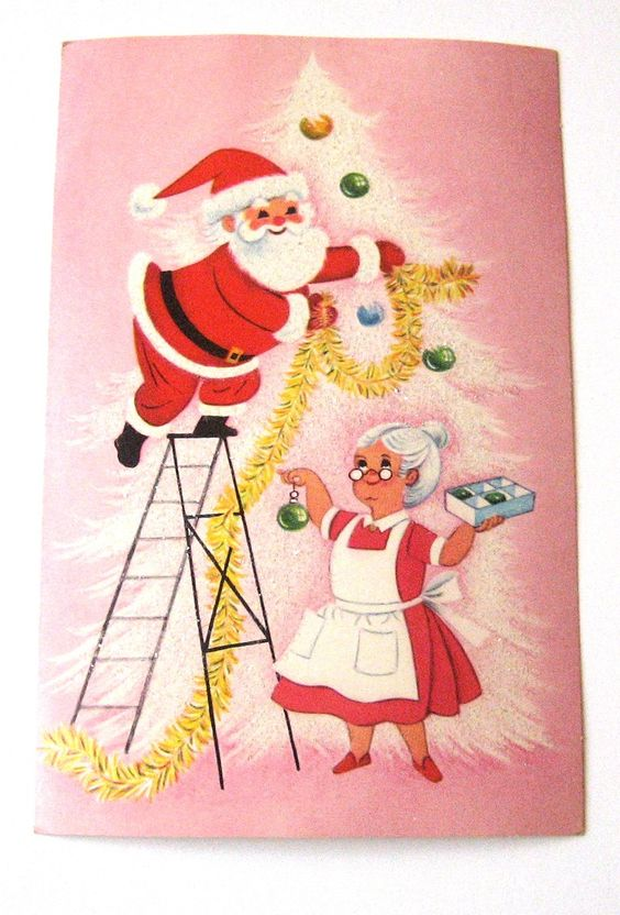 Santa and mrs claus vintage christmas card christmas for Santa cards pinterest