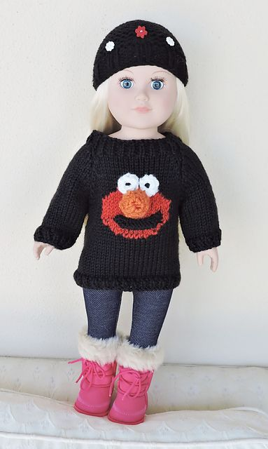 Elmo Doll Knitting Pattern : Ravelry: myknitteds Elmo or Cookie Monster Sweater & hat ...