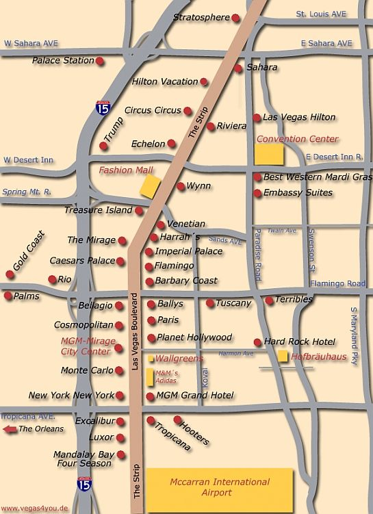 Las Vegas Strip Distance Map Source: Las Vegas Strip Map Planet Hollywood At Infoasik.co