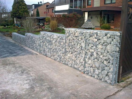 Muros de jard n con piedras xardin pinterest - Muros para jardin ...