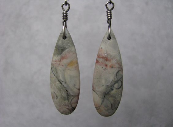 Medium Length, Teardrop, Grey and Pink Galaxy Jasper Stone Slab Dangle, Titanium Wire Wrapped Earrings, Stainless Steel Leverback Ear Wire by EarthlyTreasures2015 on Etsy