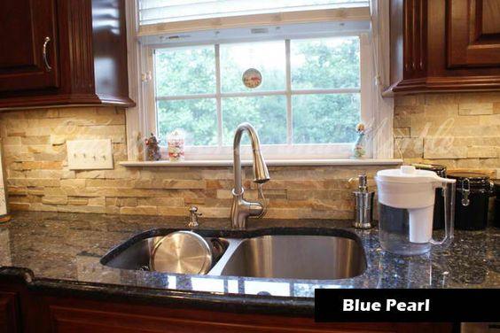 blue pearl with stone backsplash flecks of design