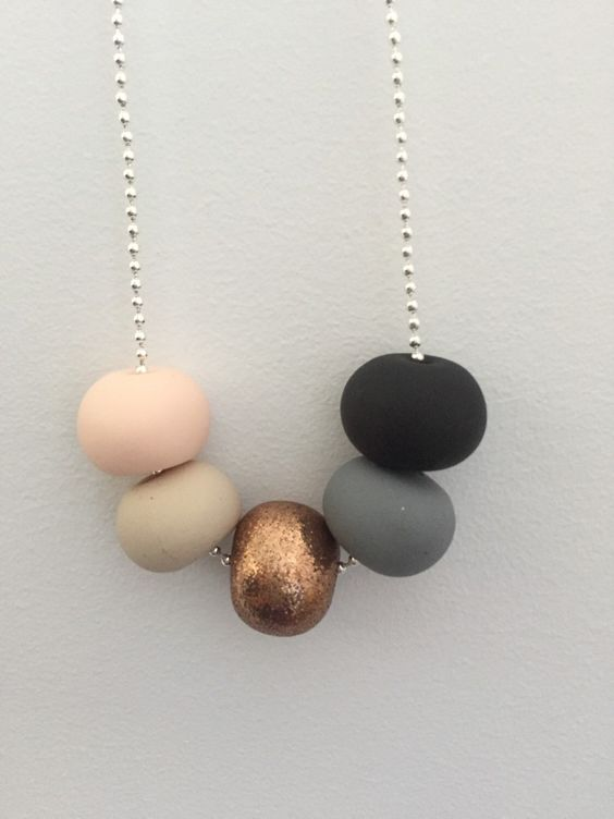 Polymer clay bead necklace. Black, grey, rose gold glitter, nude, clay. by RafHop on Etsy https://www.etsy.com/listing/228621389/polymer-clay-bead-necklace-black-grey: