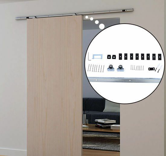 Sliding Barn Door Hardware Kit 6 1 Ft Wood Modern Hang Style Track Rail Set Pack Homcom Interior Sliding Barn Doors Barn Door Kit Barn Door Handles