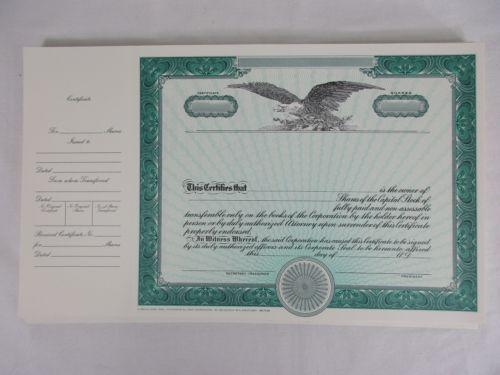StockBond 100 Blank Certificates Capital Share Eagle – Blank Share Certificates