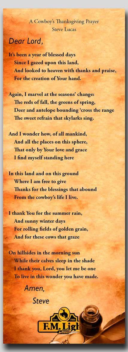 √A Cowboy's Thanksgiving Prayer by Steve Lucas