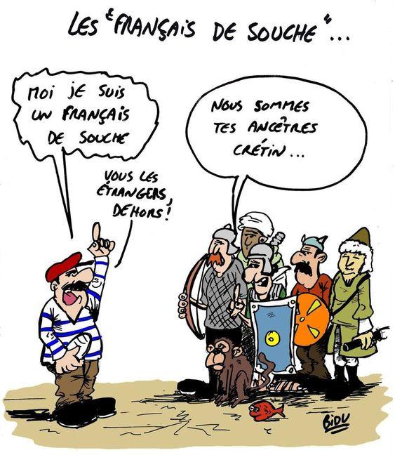 """La caricature du jour : """"Nous sommes tes ancêtres crétin !"""""""
