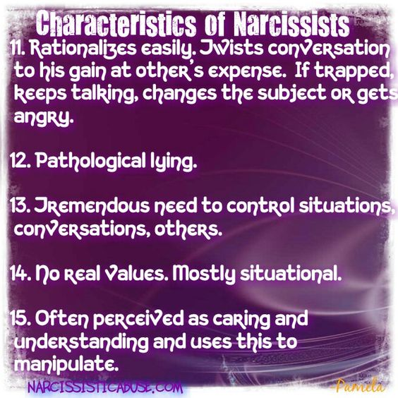Characteristics of Narcissists... lying is their game.