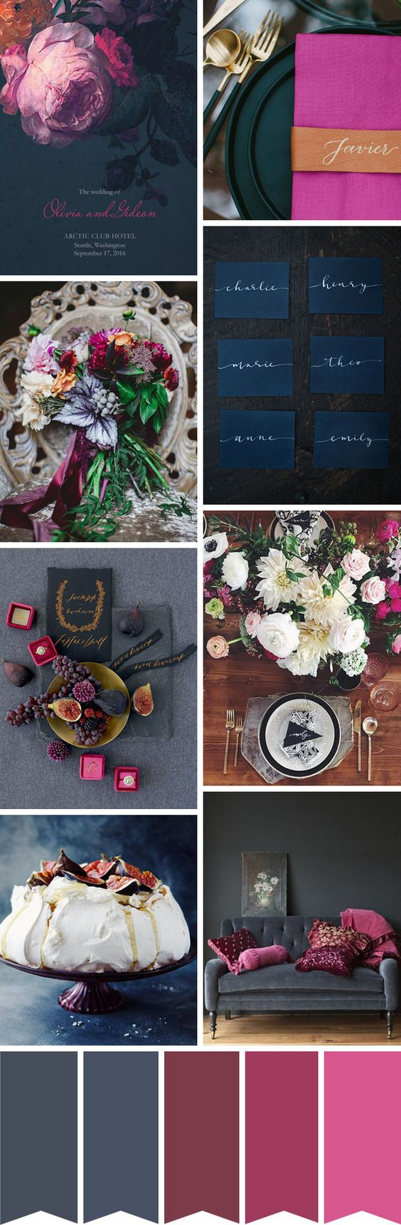 A Chic Charcoal, Navy and Fuschia Wedding Colour Palette   www.onefabday.com