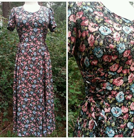 Floral Maxi Dress Size S Corset Tie Sheer Vintage 80s Grunge Indie Paris Blues #ParisBlues