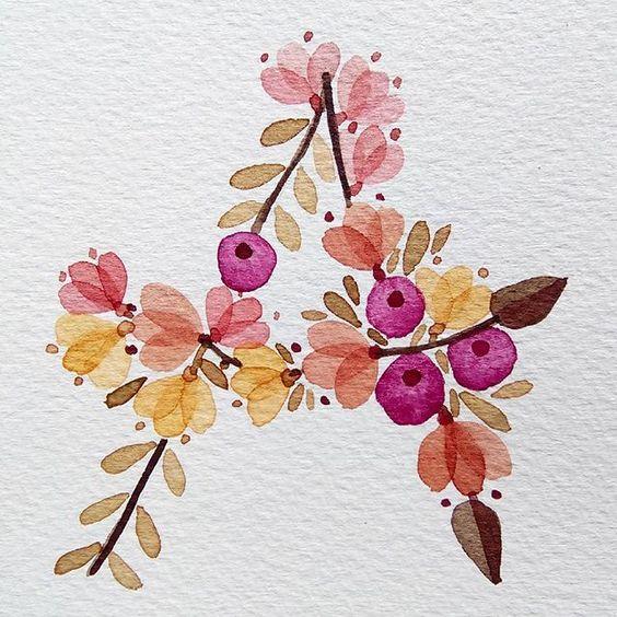 A as in Autumn.  #watercolour #acuarela #floralalphabet #flowerartist #flowers #floralpattern #lettering #handmadefont #handmadetype #kuretake #gansaitambi #handletters #letterA