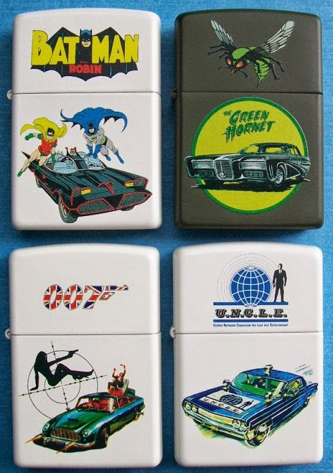 Series of four Custom one of a kind Zippos featuring different cars of James Bond, Batman,The Man From U.N.C.L.E. and The Green Hornet.