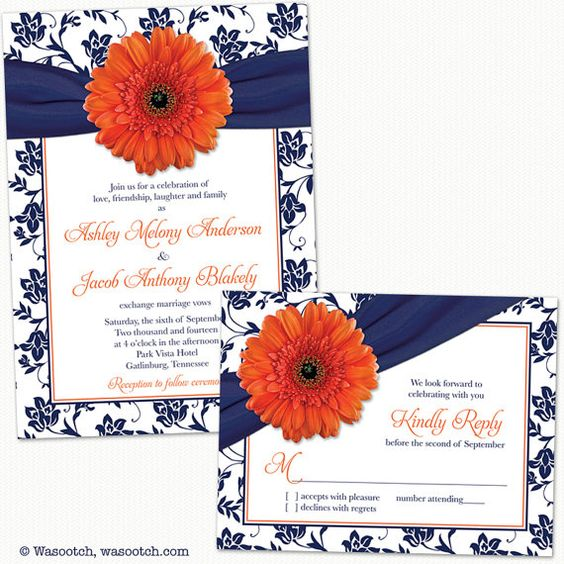 Orange Gerbera Daisy, Navy Blue Damask Floral Ribbon Wedding Invitation and Reply Card.  Perfect for a summer or fall / autumn wedding with an orange and navy blue color theme.