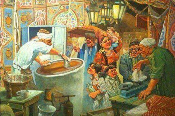 صور عن مظاهر شهر رمضان الكريم كنافة رمضان اجواء شهر رمضان مصر زمان رمضان Egyptian Art Egypt Art Egyptian Painting