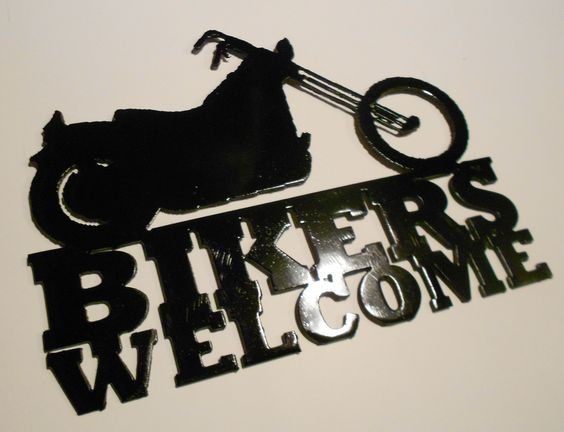 bikers welcome motorcycle metal wall art metal art motorcycle biker pinterest metal wall. Black Bedroom Furniture Sets. Home Design Ideas