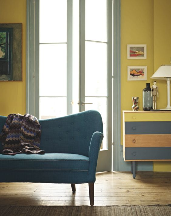 Fired earth 39 s new paint collection 2012 blue yellow for Neon yellow wall paint