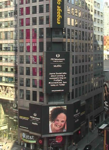 I met @Jayme Soulati at #ConvergeSouth in 2013. Here is her all lite up in Time Square