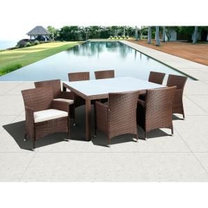 Atlantic Contemporary Lifestyle Grand New Liberty Deluxe Brown 9-Piece Square All-Weather Wicker Patio Dining Set with Off-White Cushions PLI LIBERSQ9_KD BR/OW at The Home Depot - Mobile