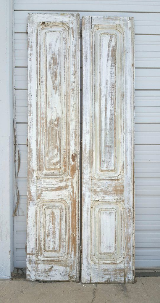 Pair Of 3 Panel White Wash Wood Doors Old Wood Doors Antique French Doors Wood Doors Interior