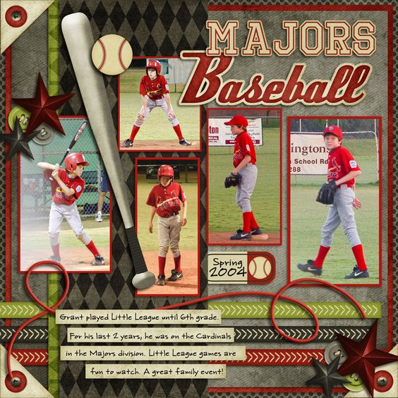 With all the baseball and Tball this season I will be using this!  Majors Baseball - Scrapbook.com